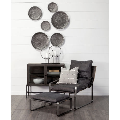 Lanx Black and Gray Decorative Wall Metal Plate, Set of Three
