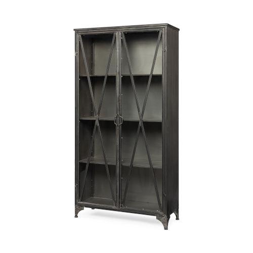 Poppy II Brown Metal and Glass Door Display Cabinet