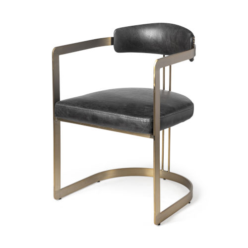 Hoskins II Black and Gold Leather Seat Dining Arm Chair