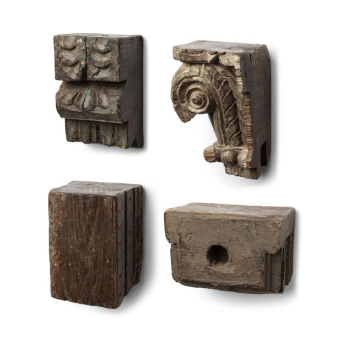 Negundo Antique Brown Reclaimed Wooden Molding Wall Décor, Set of Four