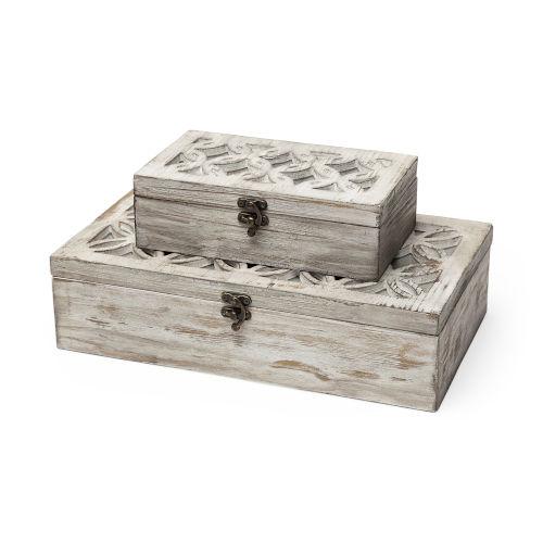 Floribundus Brown Decorative Box, Set of Two