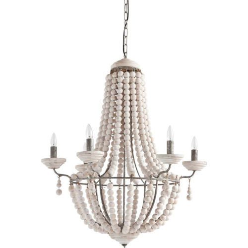 Phillum White and Silver Six-Light Chandelier