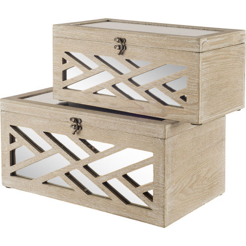 Tiffany Brown and Whitewash Chevron Box, Set of Two