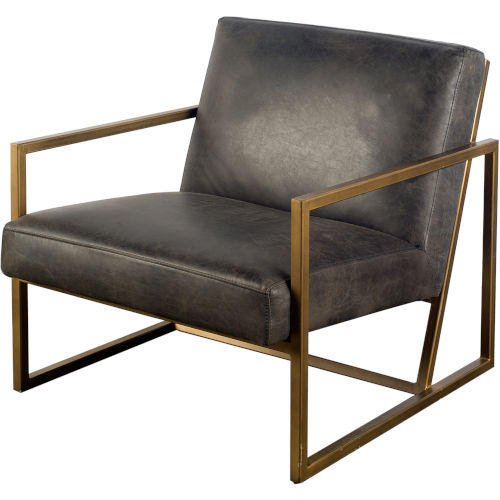 Armelle I Black and Gold Leather Arm Chair