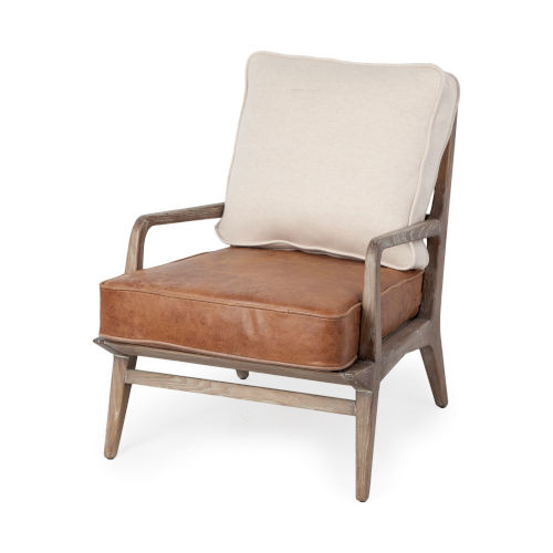 Harman II Off-White and Brown Leather Seat Arm Chair