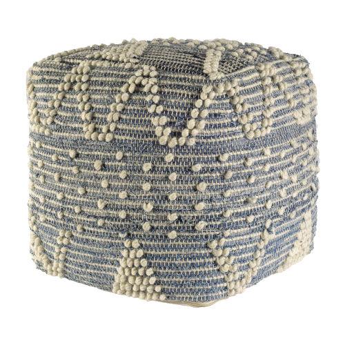 Rofi Denim and Ivory Cotton Stitched Square Pouf
