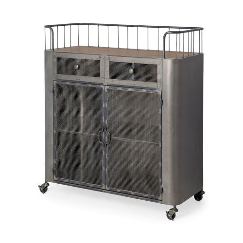 Udo Gray Bar Cart with Two Door and Two Drawer