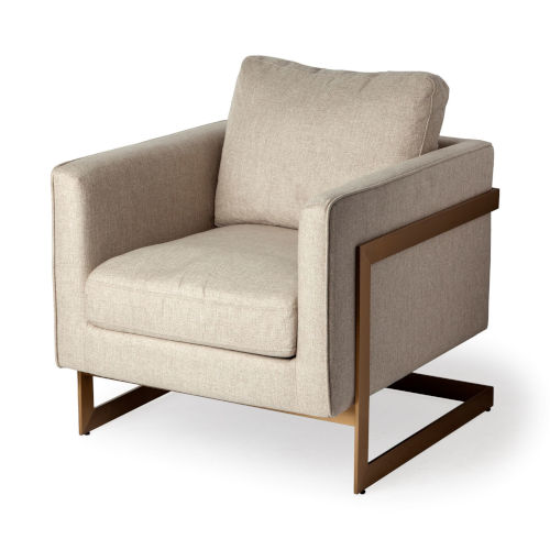 Rupert Cream and Gold Arm Chair