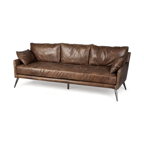 Cochrane II Espresso Leather Three Seather Sofa