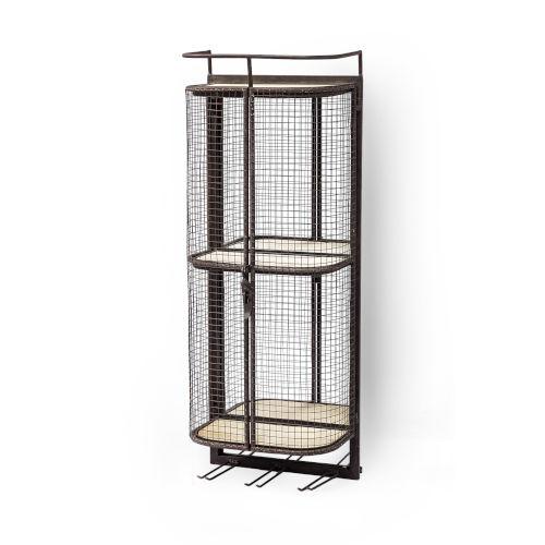 Saluti I Black Wall Shelf with Two Shelf and Storage