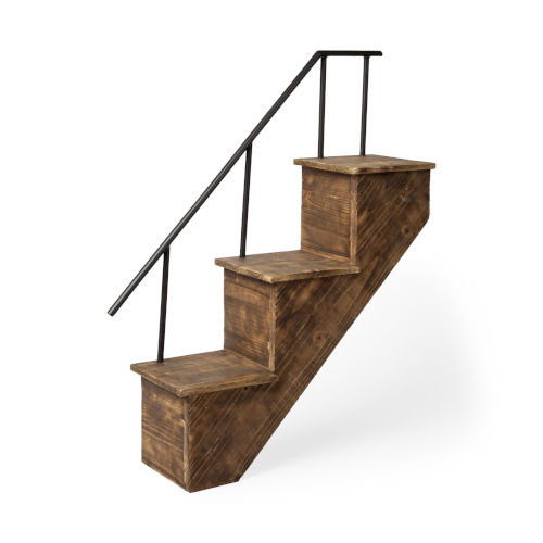 Page Brown Stairway Wall Shelf
