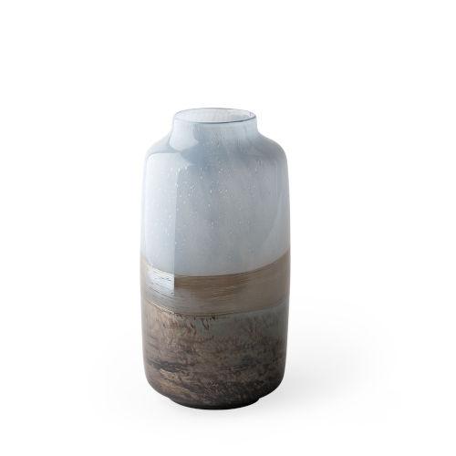 Nasser II Blue, Gold and Chrome Glass Vase