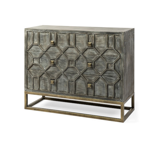 Genevieve I Brown and Brass Solid Wood Three Drawer Cabinet