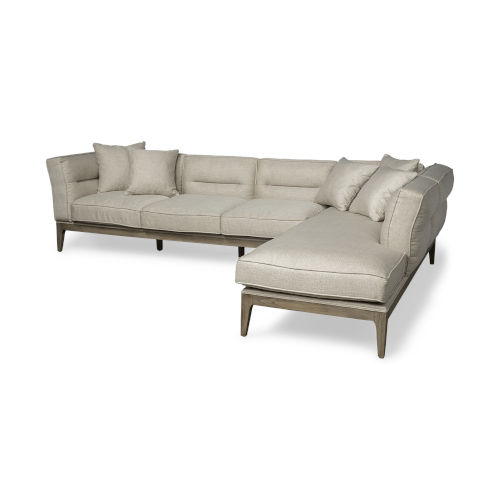 Denali III Cream Upholstered Right Four Seater Sectional Sofa