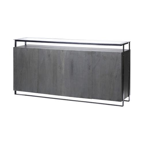 Vidro III Gray Glass Top Solid Wood Sideboard