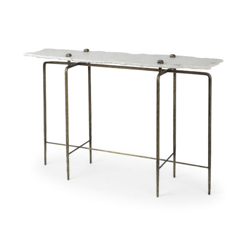 Pinera III White and Brass Marble Top Console Table