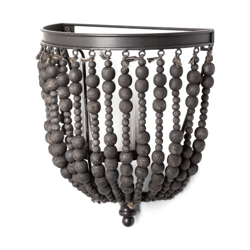 Liam II Black Wall Candle Holder with Wooden Bead
