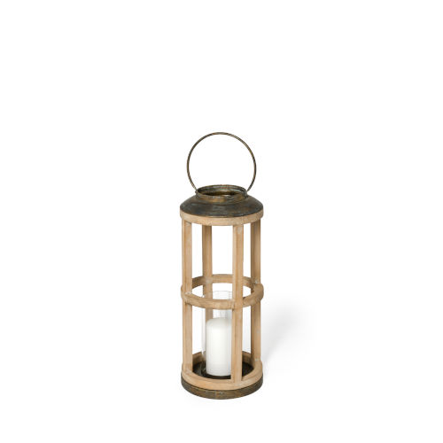 Andy II Brown Cylindrical Candle Holder Lantern