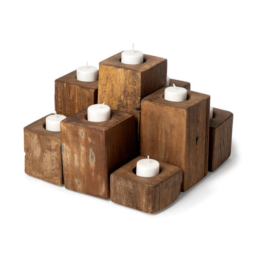 Cassius Light Brown Nine Wood Block Table Candle Holder