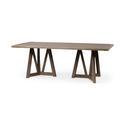 Legolas II Brown Rectangular Solid Wood Dining Table