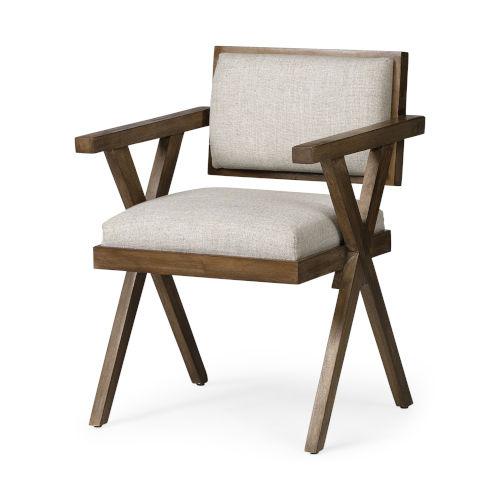 Topanga I Cream and Medium Brown Dining Arm Chair