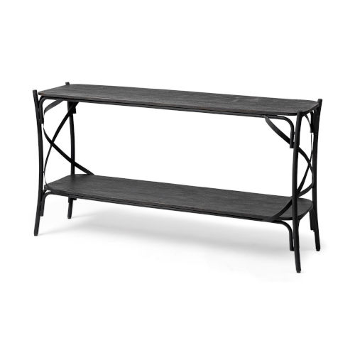 Etienne Black Solid Wood Two-Tier Console Table