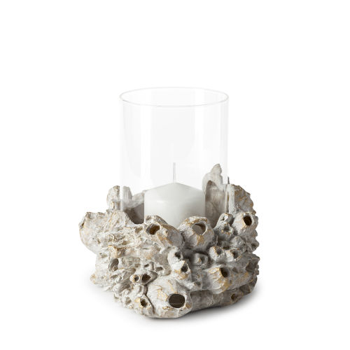 Marjorie II White and Gold Resin Barnacle Table Candle Holder
