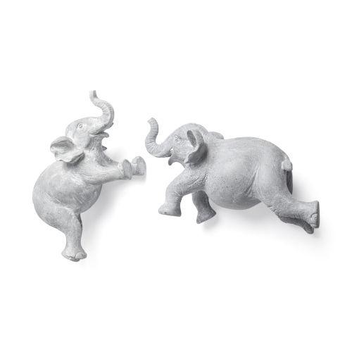 Maynard I Gray Elephant Wall Sculpture, Set of Two