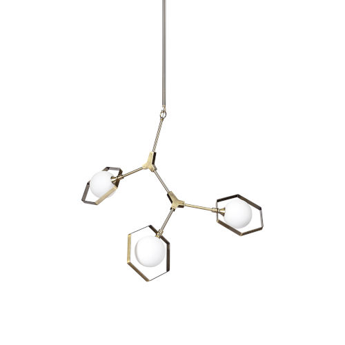 Desousa II Brass and Champagne Three-Light LED Chandelier