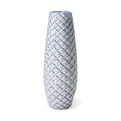 Troi II Blue and White Fishscale Ceramic Vase