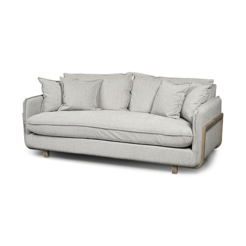 Roy I Frost Gray Upholstered Three Seater Sofa