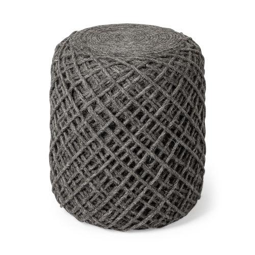 Allium Gray Wool Diamond Cylindrical Pouf