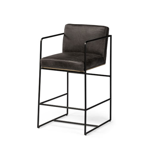 Stamford Ebony Black Leather Seat Counter Height Stool
