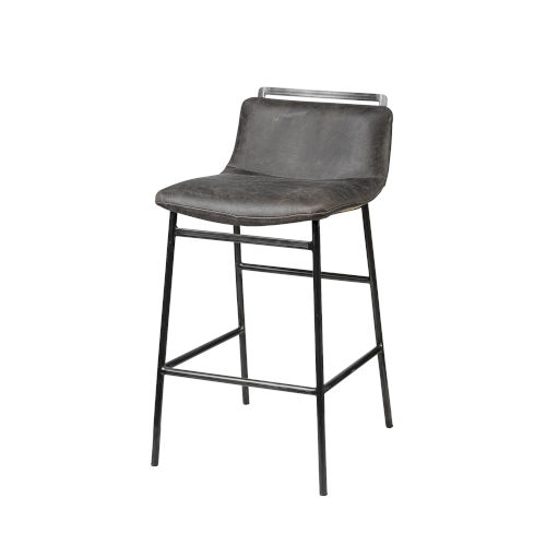 Kavalan Ebony Black Leather Seat Counter Height Stool