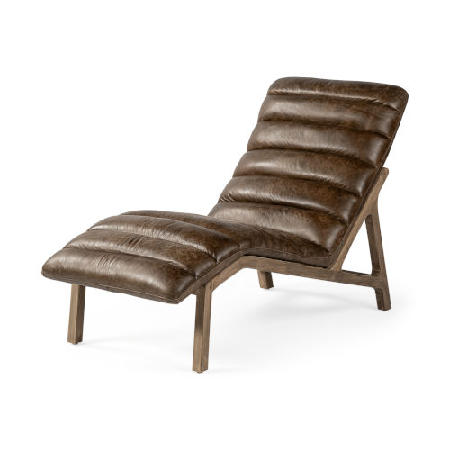 Pierre Whiskey Leather Armless Chaise Lounge Chair