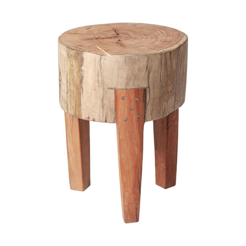 Asco Brown 18-Inch Solid Reclaimed Wood Stool
