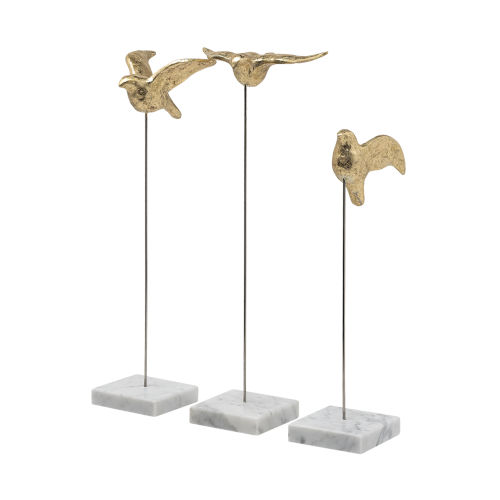 Aya Gold Decorative Bird, Set of Three