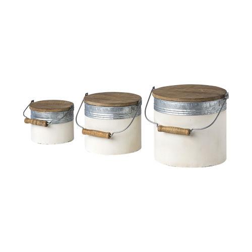 Alani White Metal Storage Box, Set of Three
