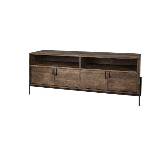 Glen Brown Solid Wood TV Stand Media Console with Storage