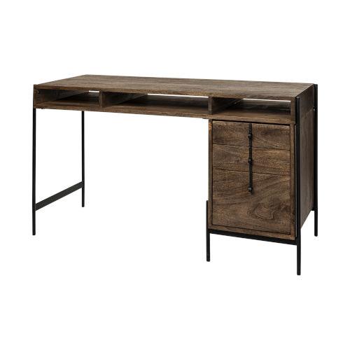 Glenn Brown Wooden Three Drawer Desk