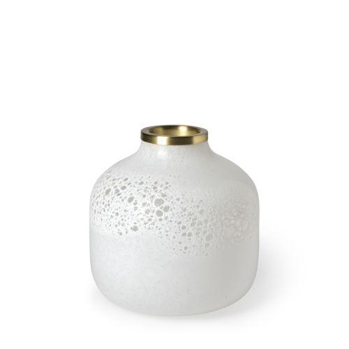 Pearl White and Gold 8-Inch Ceramic Vase