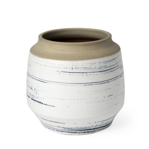 Sonnett White and Blue 9-Inch Ceramic Vase
