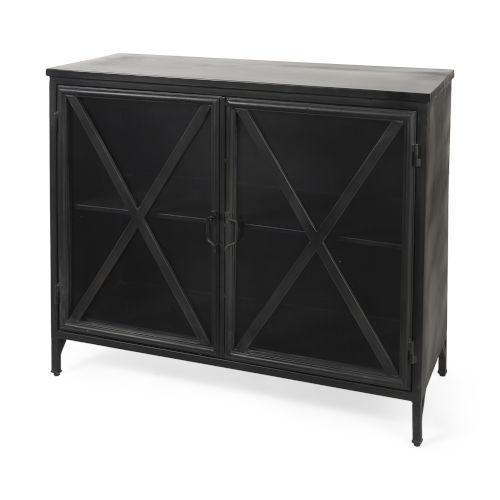 Poppy III Black Cabinet with Glass Door