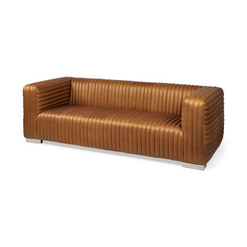 Ricciardo Mahogany Leather Wrapped Three Seater Sofa