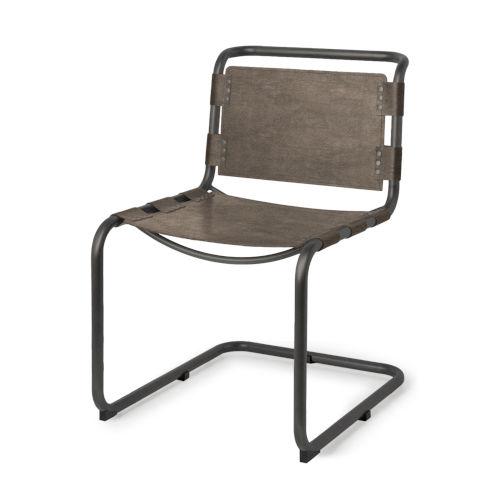 Berbick Dark Brown Leather Dining Chair