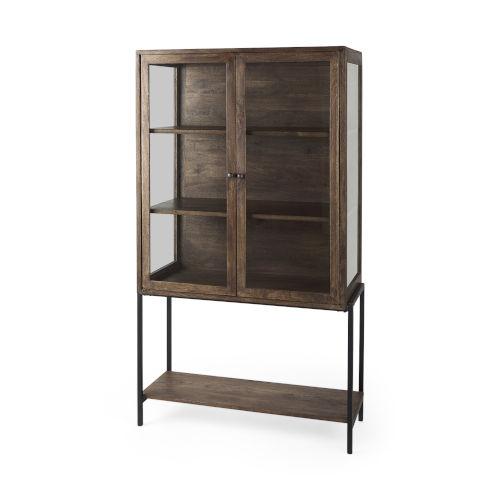 Arelius Medium Brown and Black Display Cabinet