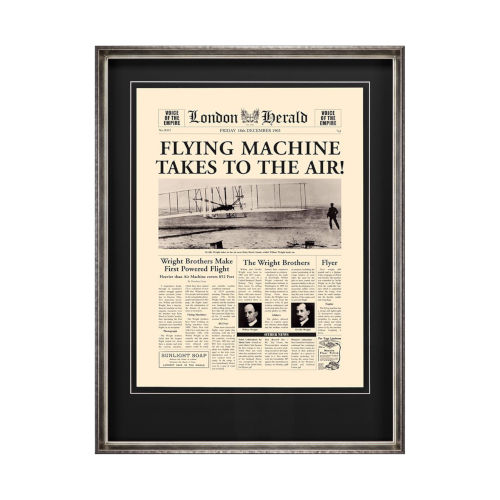Silver Flying Machine Takes to the Air! Wall Art
