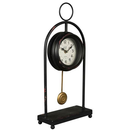 Evelyn Aged Black Table Clock