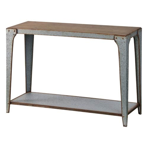 River Station Galvanized Metal Console Table with Wood Top