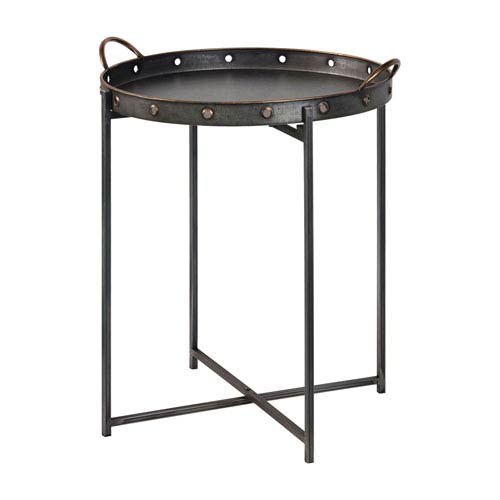 River Station Black Galvanized Metal Tray Table